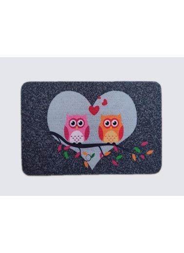 Giz Home Giz Home Boyalı Megan 40X60 Çift Baykuş Desenli Renkli Kapı Paspası Renkli